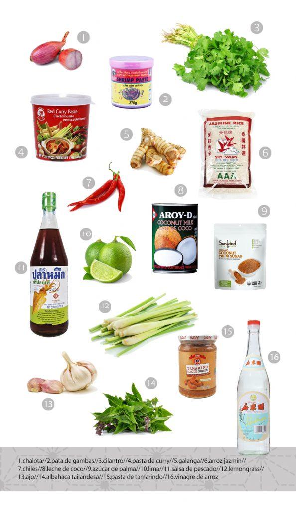 ingredientes básicos tailandeses