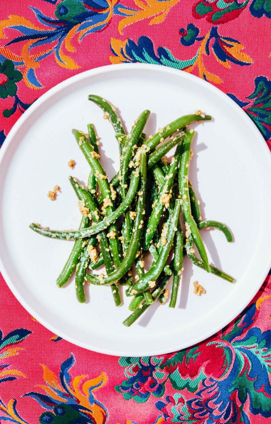 judías verdes con salsa goma-ae