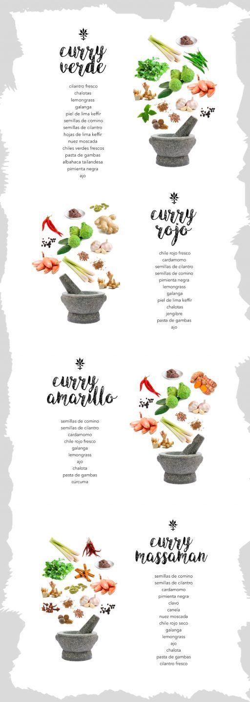 variedades de curry tailandés