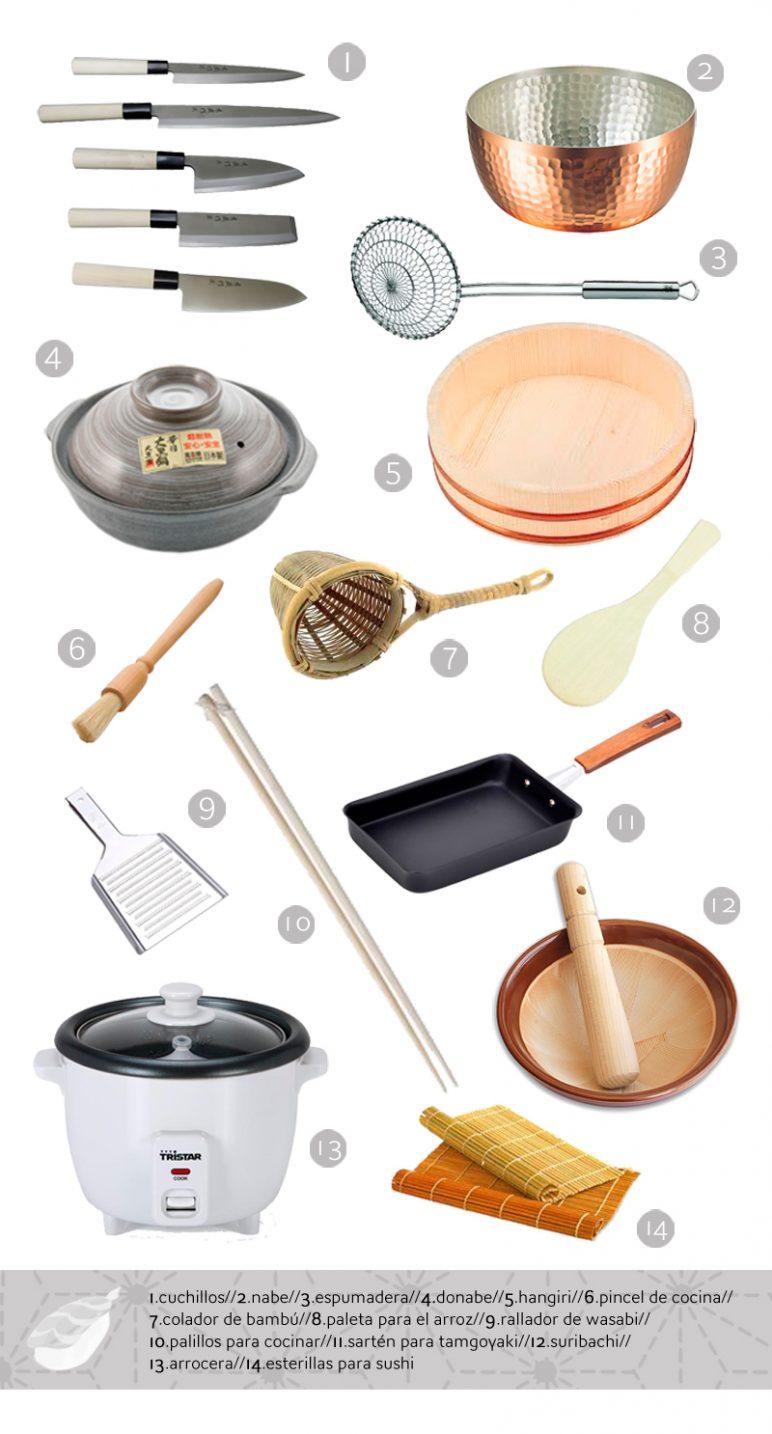 cocina japonesa para principiantes. Utensilios básicos