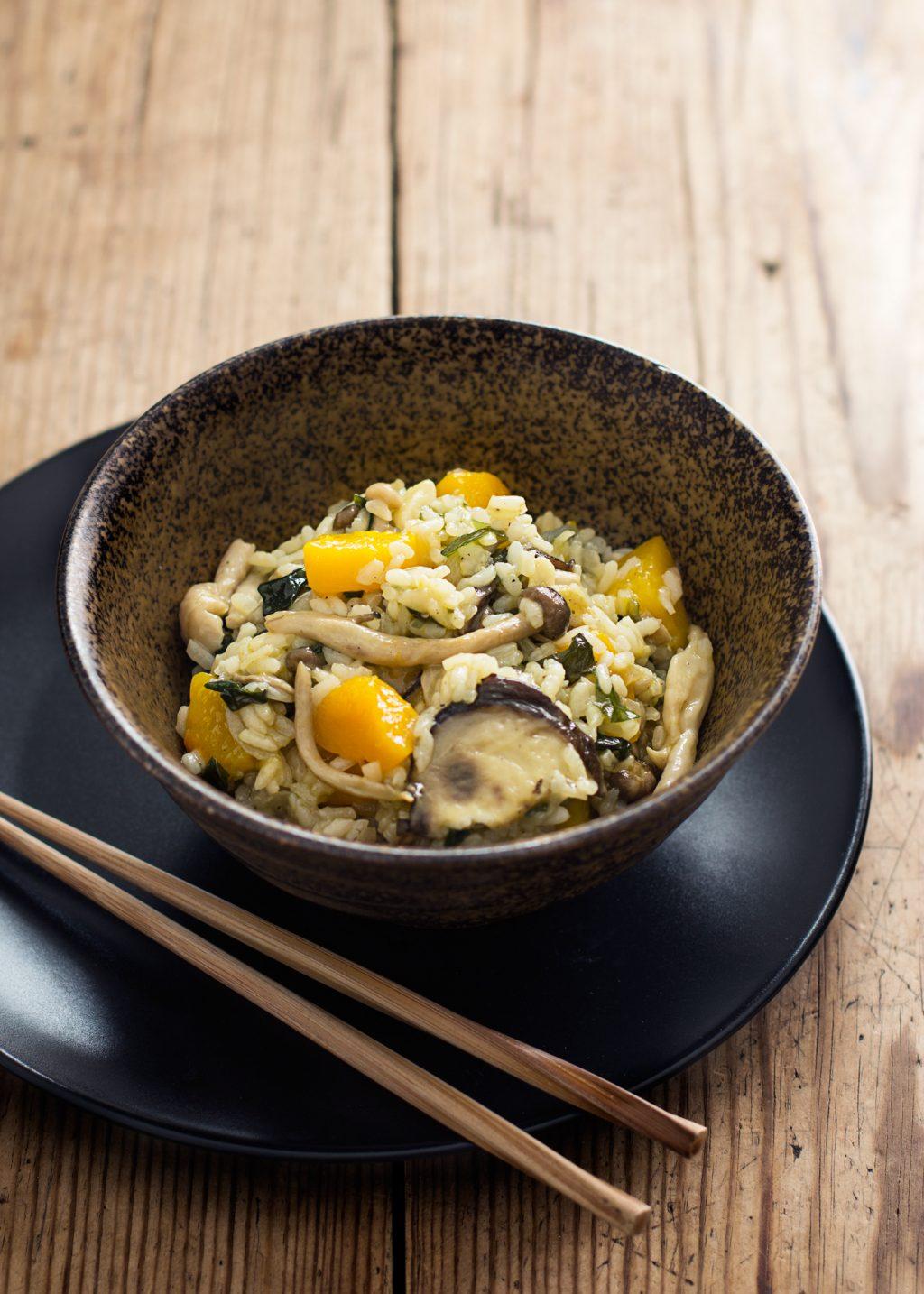 receta de arroz japonés con setas