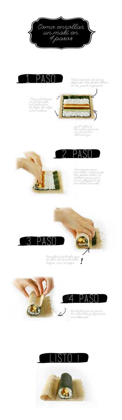 CÓMO ENROLLAR UN MAKI SUSHI EN 4 PASOS