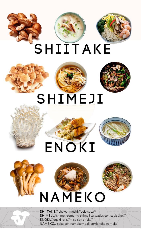 variedades de setas japonesas