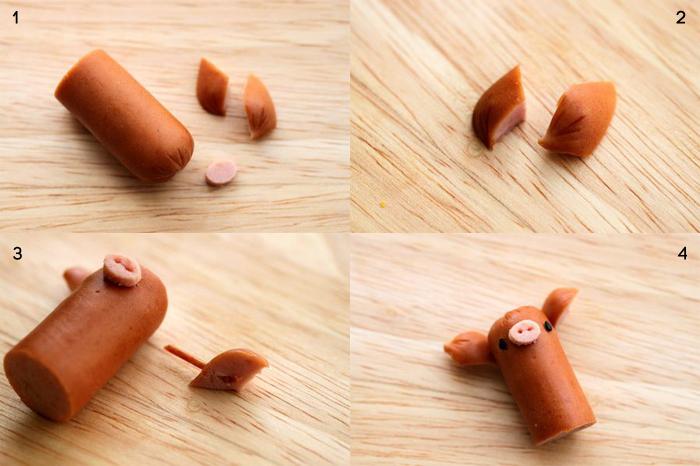 como hacer cerditos de salchicha