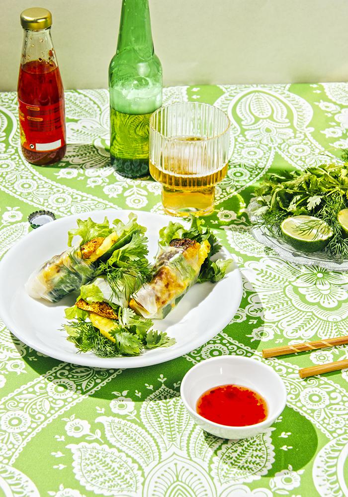rollitos vietnamitas de pescado con cúrcuma